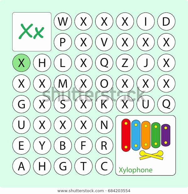 Letter X Worksheets for Kindergarten Alphabetical Puzzle Labyrinth Learning Letter X Stock Vector
