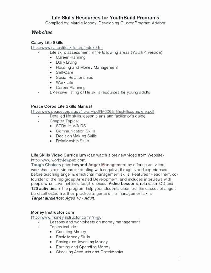 Life Management Skills Worksheets Awesome Life Skills Math Worksheets Pdf