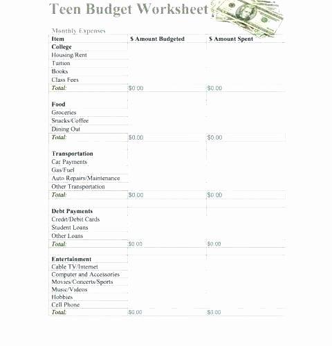 Life Management Skills Worksheets Lovely Money Management Worksheets for Students
