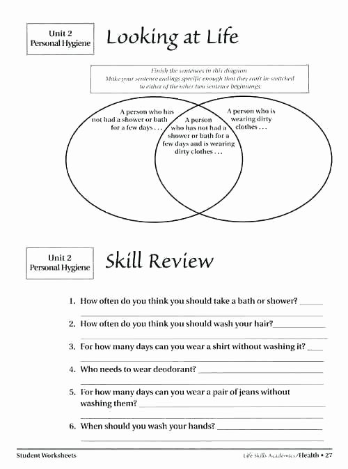 Life Skills Worksheets Free Hygiene Worksheets Free Personal for Middle School