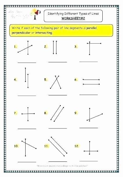 Lines Rays Line Segments Worksheets 95 Parallel Perpendicular and Intersecting Lines Worksheet