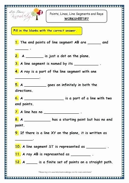 Lines Rays Line Segments Worksheets Line Segment Worksheets for 3rd Grade Grade 3 Maths