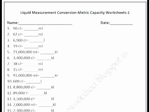Liquid Volume Worksheets Conversion Worksheets Converting Time Grade Culinary Arts