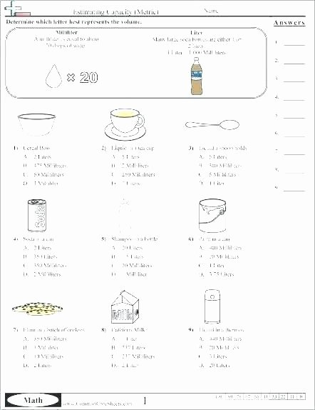 Liquid Volume Worksheets Free Printable Measurement Worksheets Conversion Word