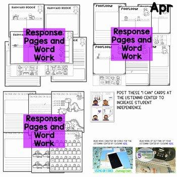 Listening Center Response Sheet Kindergarten Listening Center Listen Up 2018 2019 K and 1st Year Long Set