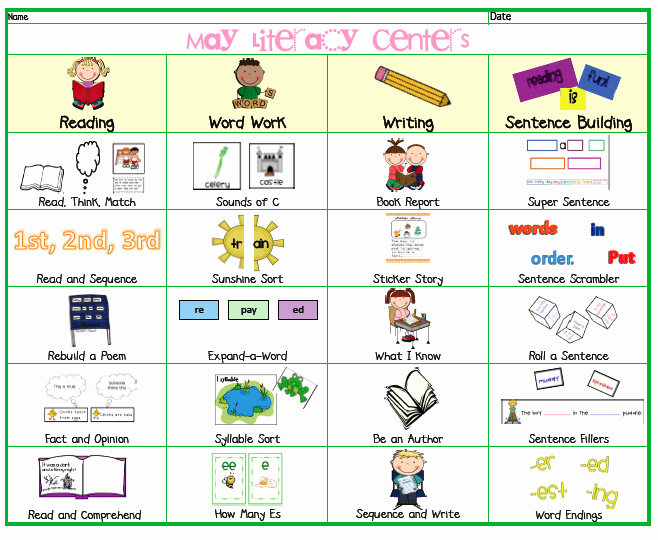 Listening Center Response Sheet Kindergarten May Literacy Menu Posted