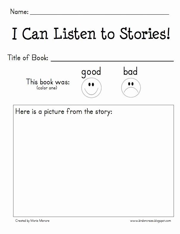 Listening Center Response Sheet Kindergarten Samantha Samanthadki5437 On Pinterest