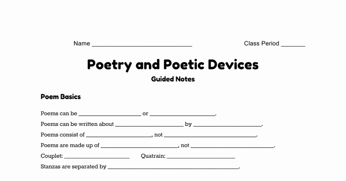 Literary Devices Worksheets Name Class Period Poetry and Poetic Devices Guided