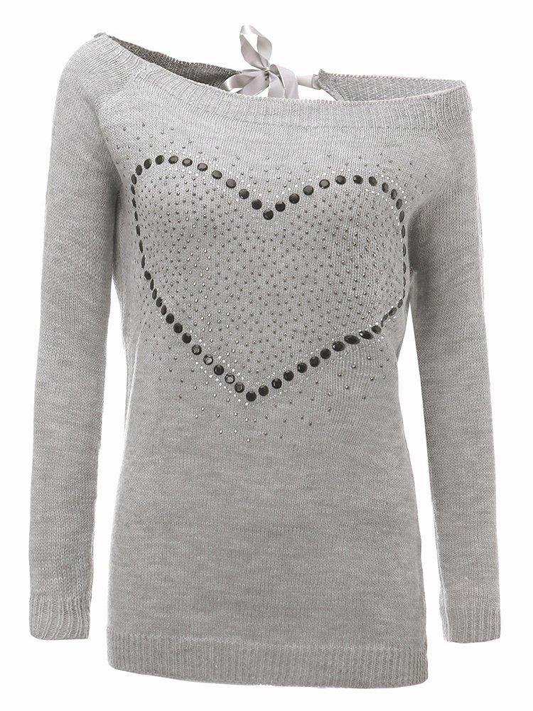 Long A Patterns Beautiful Casual Women Heart Pattern Back Bowknot Long Sleeve Pullover Sweaters