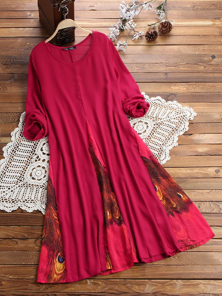 Long A Patterns Beautiful O Newe Vintage Printed Chiffon Patchwork Long Sleeve Maxi Dress