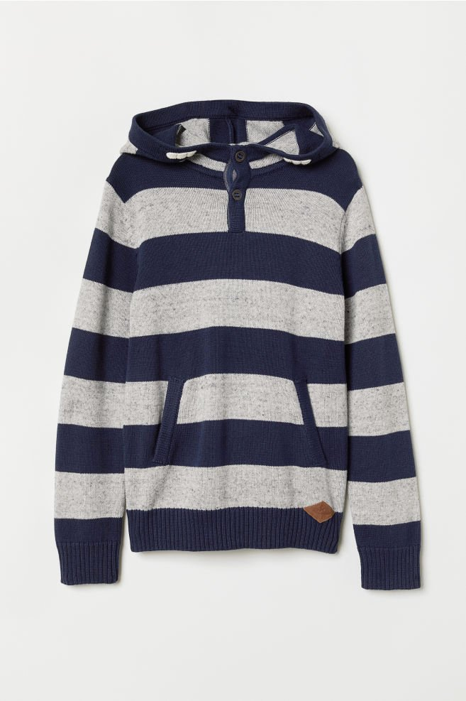 Long A Patterns Luxury Knitted Hooded Jumper