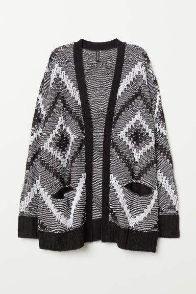 Long A Patterns New Jacquard Knit Cardigan