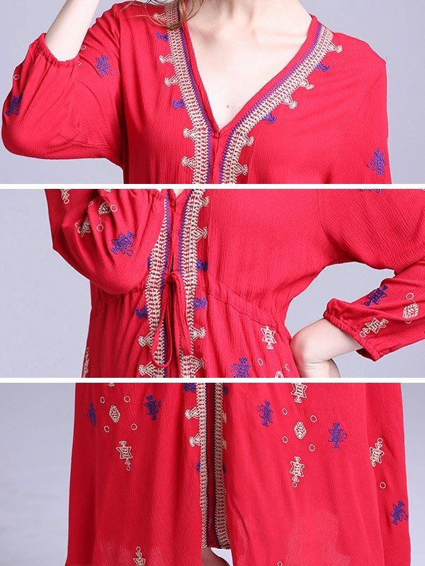 Long A Patterns Unique Embroidery Bohemian Ethnic Pattern V Neck Long Sleeves Dresses
