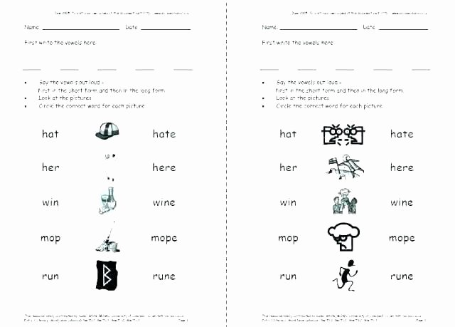 Long A Silent E Words Unique Long Vowel Silent E Worksheets Full Size Free for First
