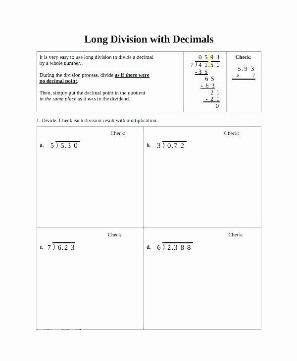 Long Division Decimals Worksheet Long Division Worksheets Dividing whole Numbers Worksheets