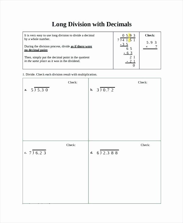 Long Division with Decimals Worksheets 4th Grade Long Division – Risatatourtravel