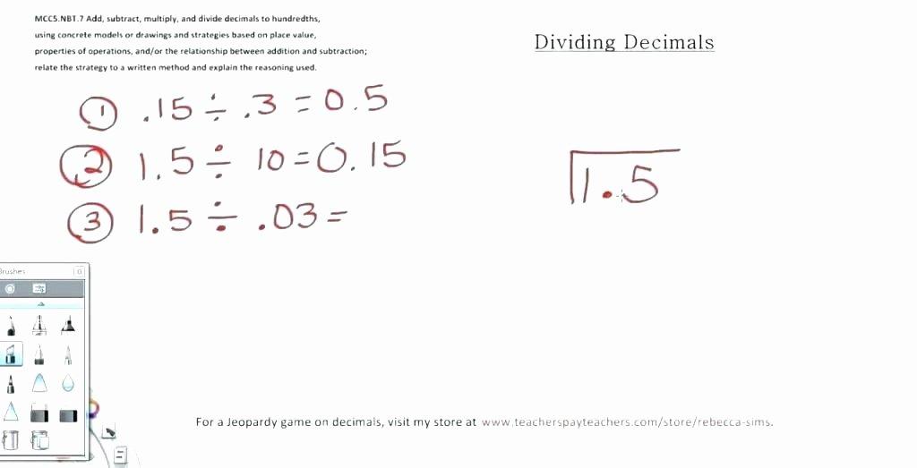 Long Division with Decimals Worksheets Decimals Worksheets Grade 7