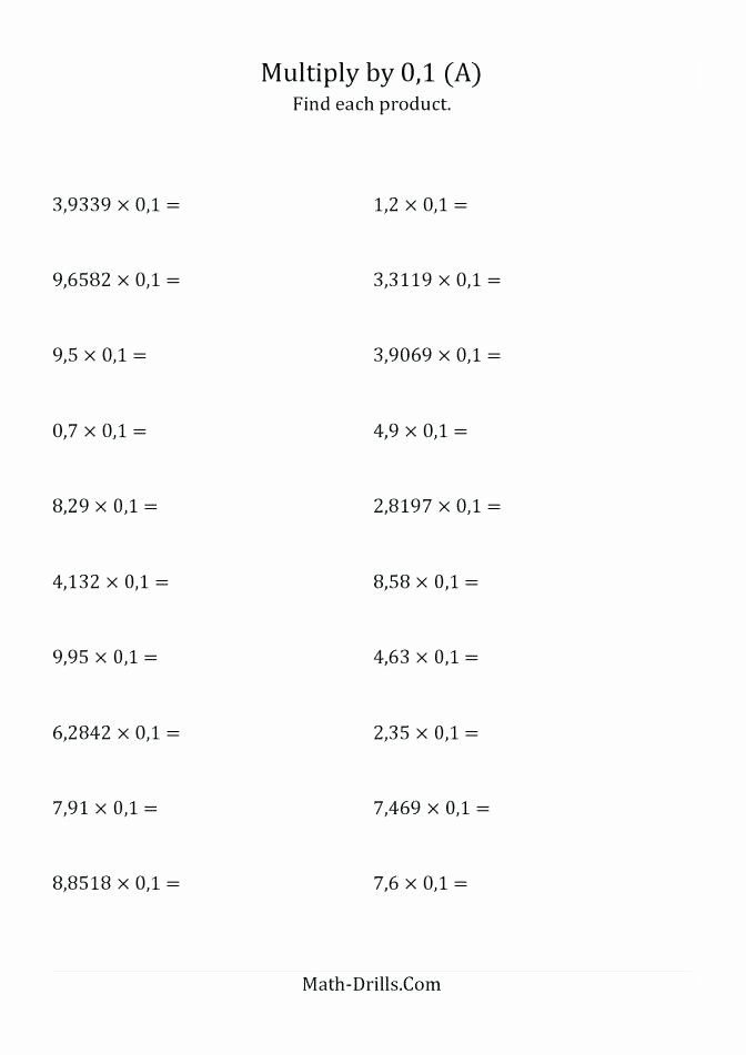 Long Division with Decimals Worksheets Size Multiplying with Decimals Worksheet