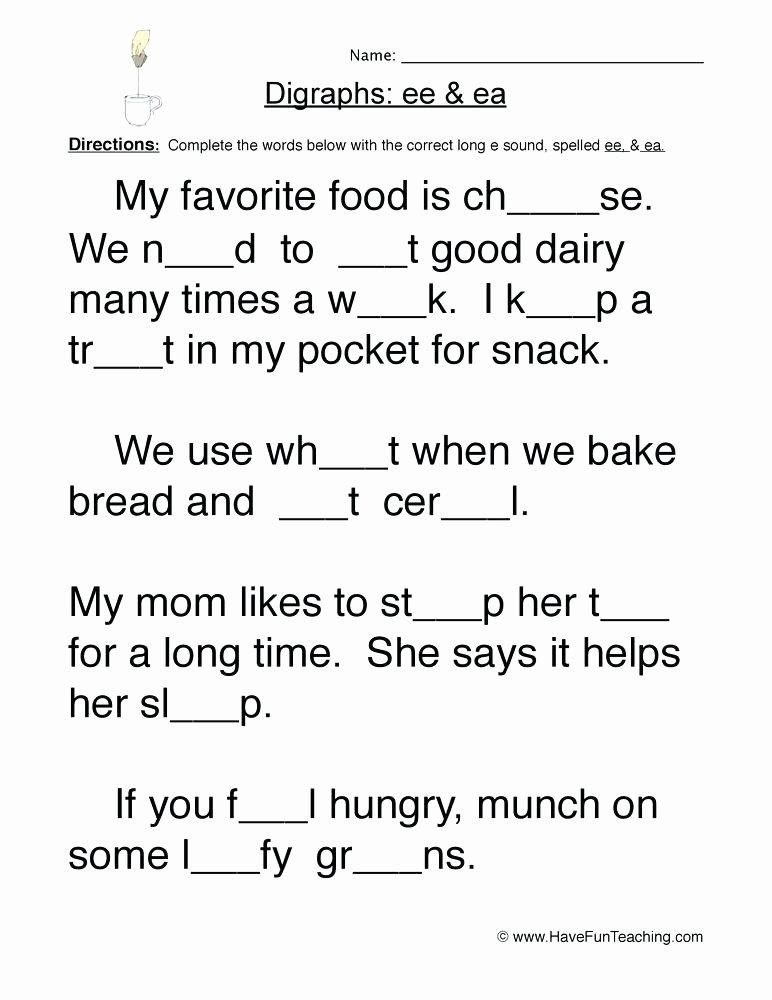 Long O Worksheets 2nd Grade Like Ee and Ea Worksheets Grade 2 Phonics Vowel Digraph