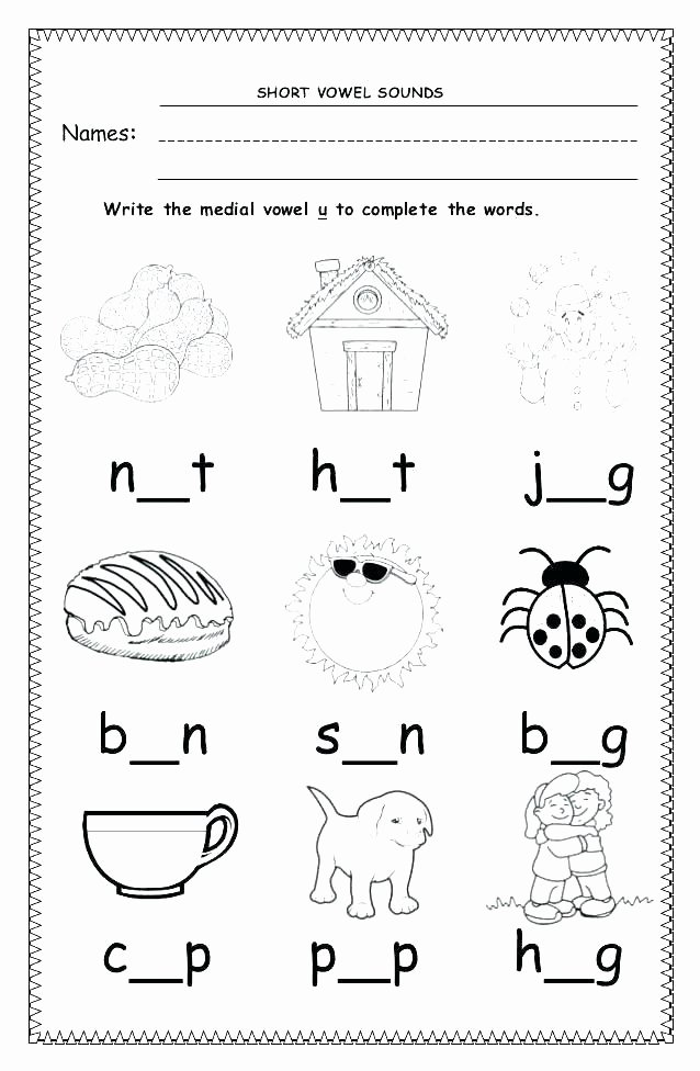 Long U sound Worksheet Kindergarten Short Vowel sounds Worksheets