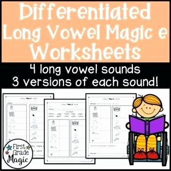 Long Vowel Silent E Words Awesome Long Vowel Silent E Worksheets for Word Work Differentiated