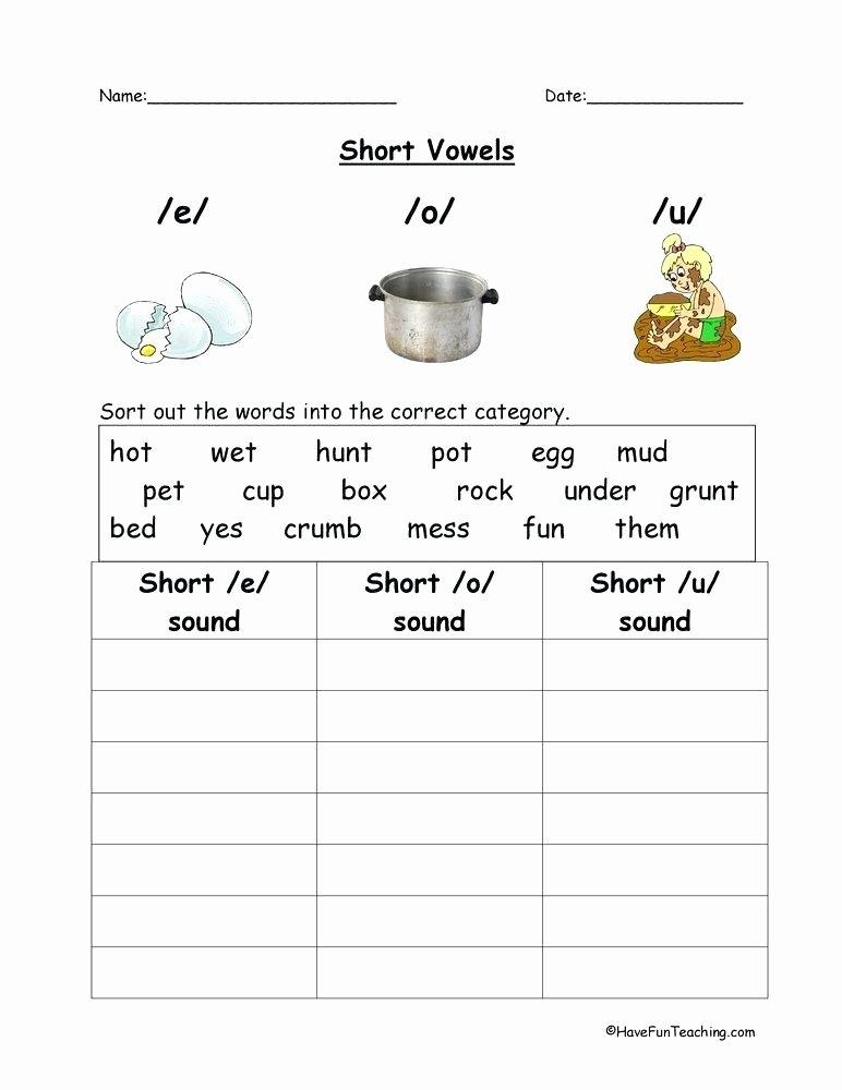 Long Vowel sounds Worksheets Kindergarten Worksheets Long Short Vowel sound Words