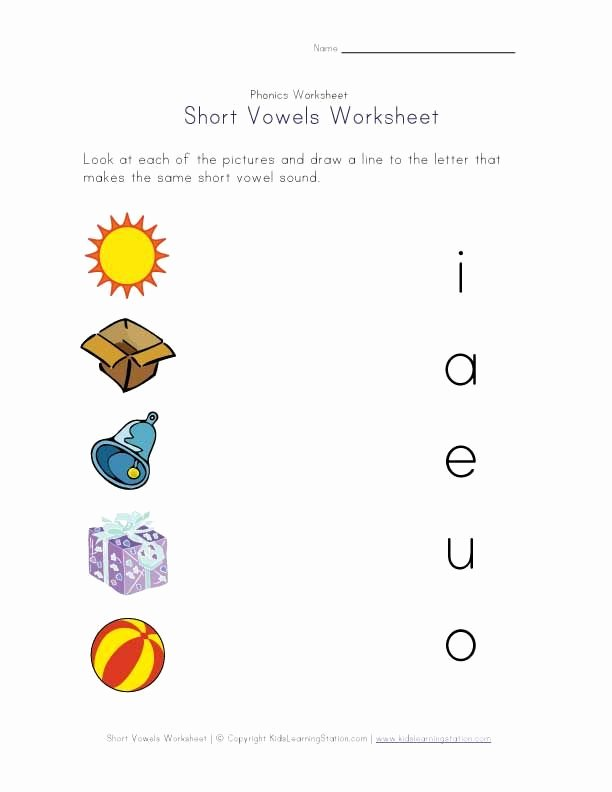 Long Vowel sounds Worksheets Short Vowel Matching Worksheet Literacy