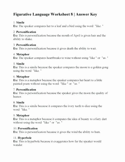 Lord Of the Flies Worksheets Figurative Language Worksheets for Middle School Cute