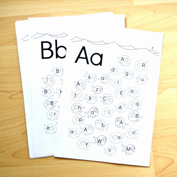 Lower Case Alphabet Worksheet Fish Alphabet Upper & Lower Case Letter Find Worksheets Frogs and Fairies