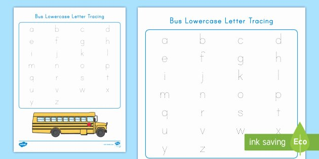 Lowercase Alphabet Tracing Worksheets Bus Lowercase Letter Tracing Worksheet Worksheet Usa