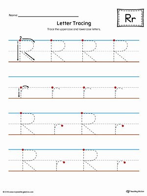 Lowercase Letter Tracing Worksheet Letter R Tracing and Writing Printable Worksheet Color