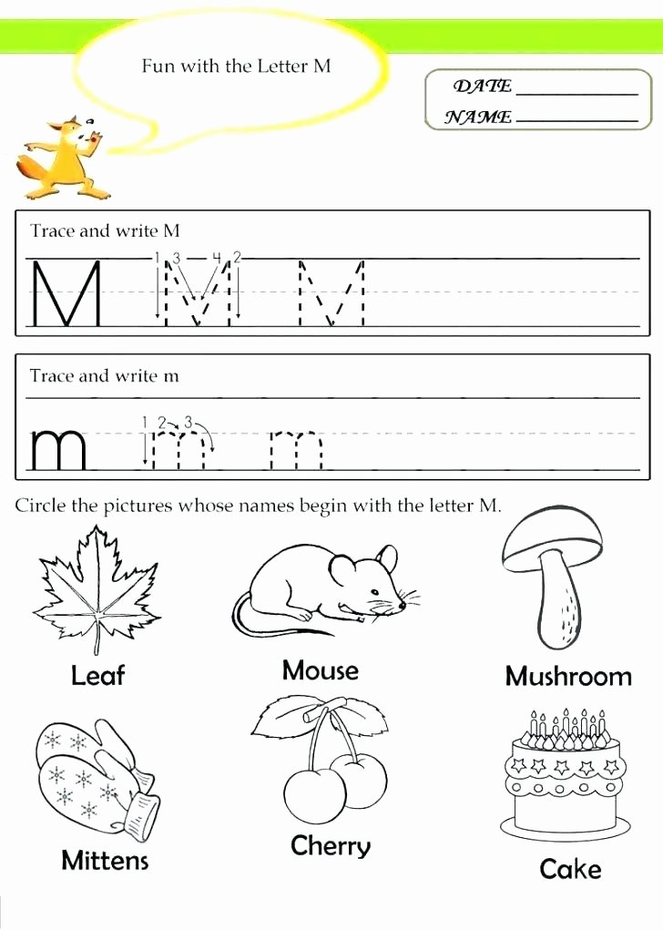 M Worksheets Preschool Alphabet Worksheets for Kindergarten Pdf