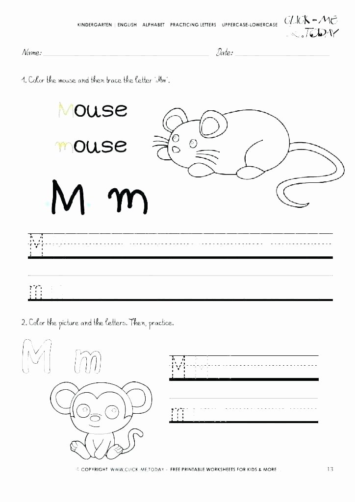 M Worksheets Preschool Letter B Worksheets for toddlers