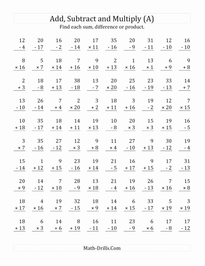 Mad Minute Subtraction Worksheets Math Timed Tests Addition Printable Mad Minute Subtraction