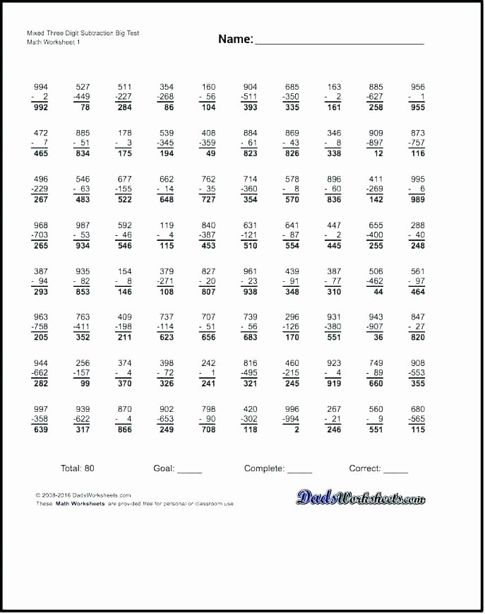 Mad Minute Subtraction Worksheets Plements Mad Minute Subtraction Worksheets Mad Minute