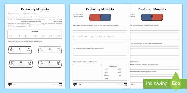 Magnetism Worksheet for High School Best Of Exploring Magnets Differentiated Worksheets Year 3 forces