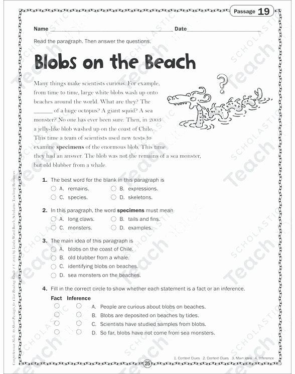 Main Idea 2nd Grade Worksheet 4th Grade Main Idea Worksheets Multiple Choice