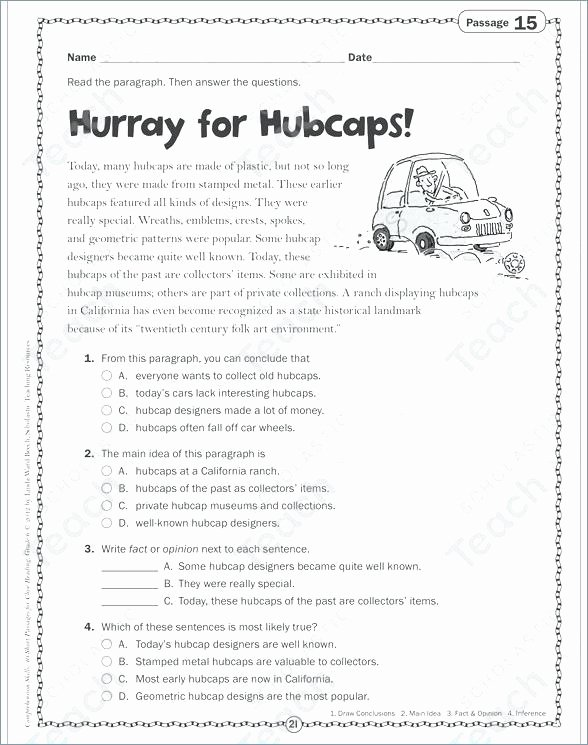 Main Idea 2nd Grade Worksheet for Hubcaps Close Reading Passage Prehension Worksheets