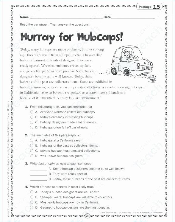 Main Idea 2nd Grade Worksheet for Hubcaps Close Reading Passage Prehension Worksheets