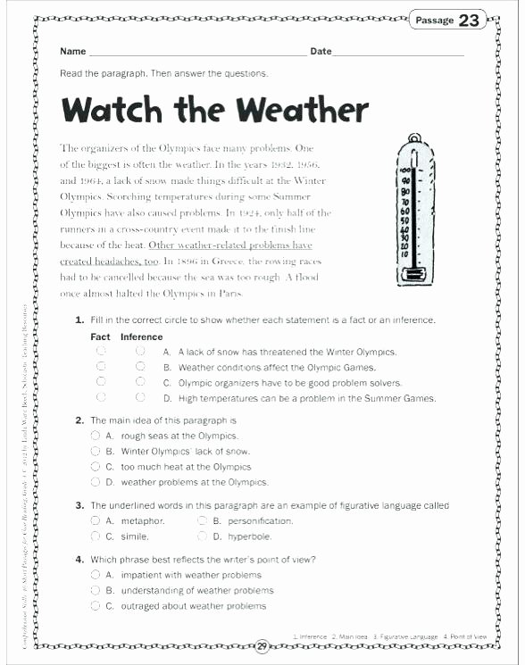 Main Idea 2nd Grade Worksheet Free Figurative Language Worksheets 3rd Grade