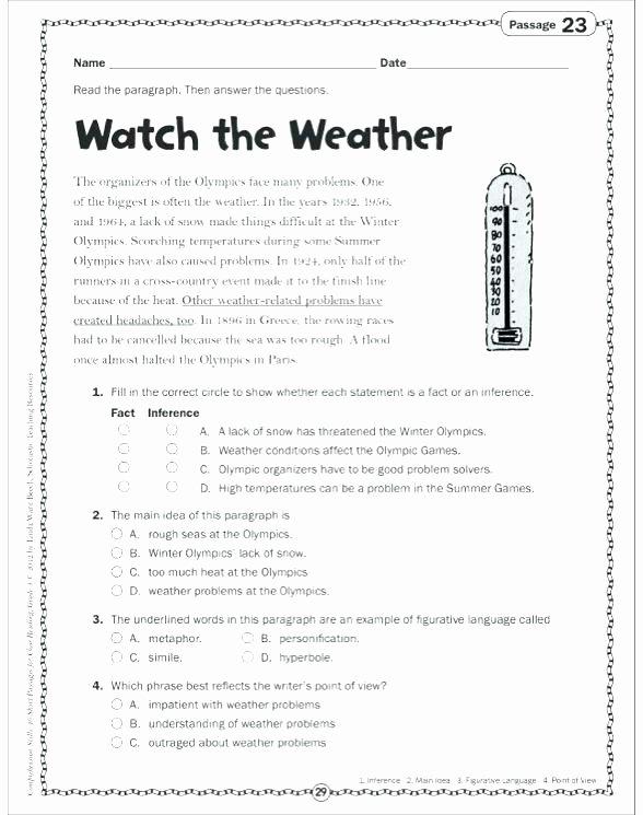 Main Idea 2nd Grade Worksheet Free Figurative Language Worksheets 3rd Grade