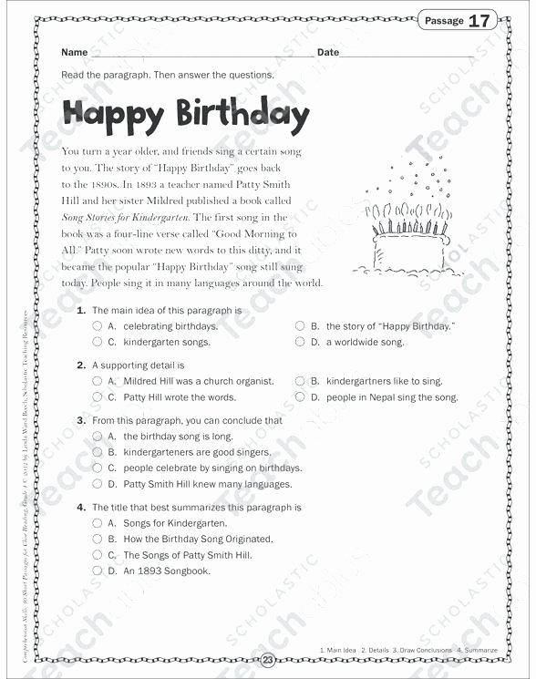 Main Idea 2nd Grade Worksheet Year 3 Prehension Worksheets