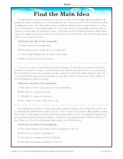 Main Idea 3rd Grade Worksheets Main Idea Worksheets Grade Helping Children to Identify
