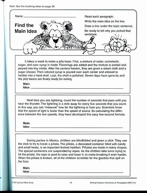 Main Idea and Details Worksheet Free Main Idea Worksheets for Kindergarten