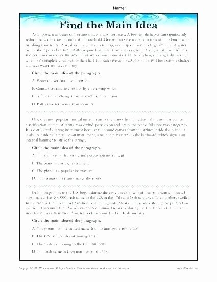 Main Idea and theme Worksheets Main Idea Worksheets Grade Helping Children to Identify