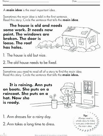 Main Idea Worksheets Grade 1 Main Idea Worksheets Grade 5