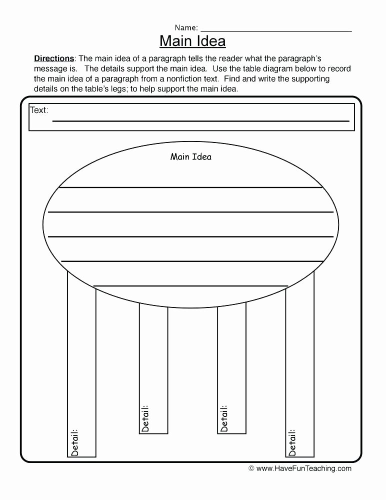 Main Idea Worksheets Grade 1 Main Idea Worksheets with Answer Key Free Printable and