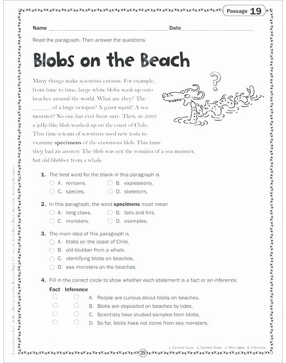 Main Idea Worksheets High School Free 5th Grade Main Idea Worksheets Nonfiction Activities
