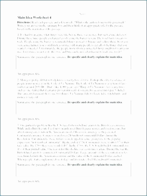 Main Idea Worksheets High School Medium to Size Main Idea Worksheet Kids Reading