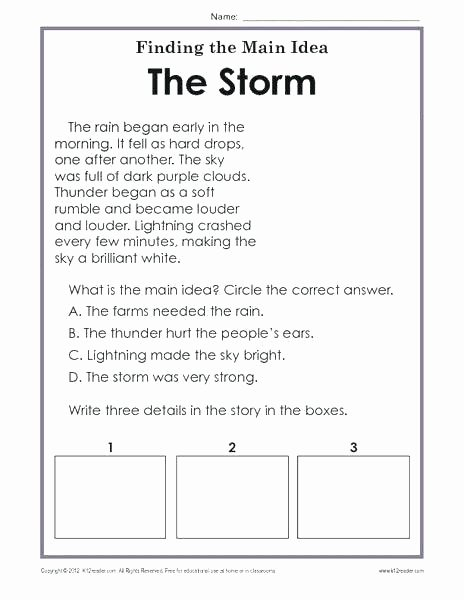 Main Idea Worksheets Middle School Free Printable Main Idea and Details Graphic organizer Free